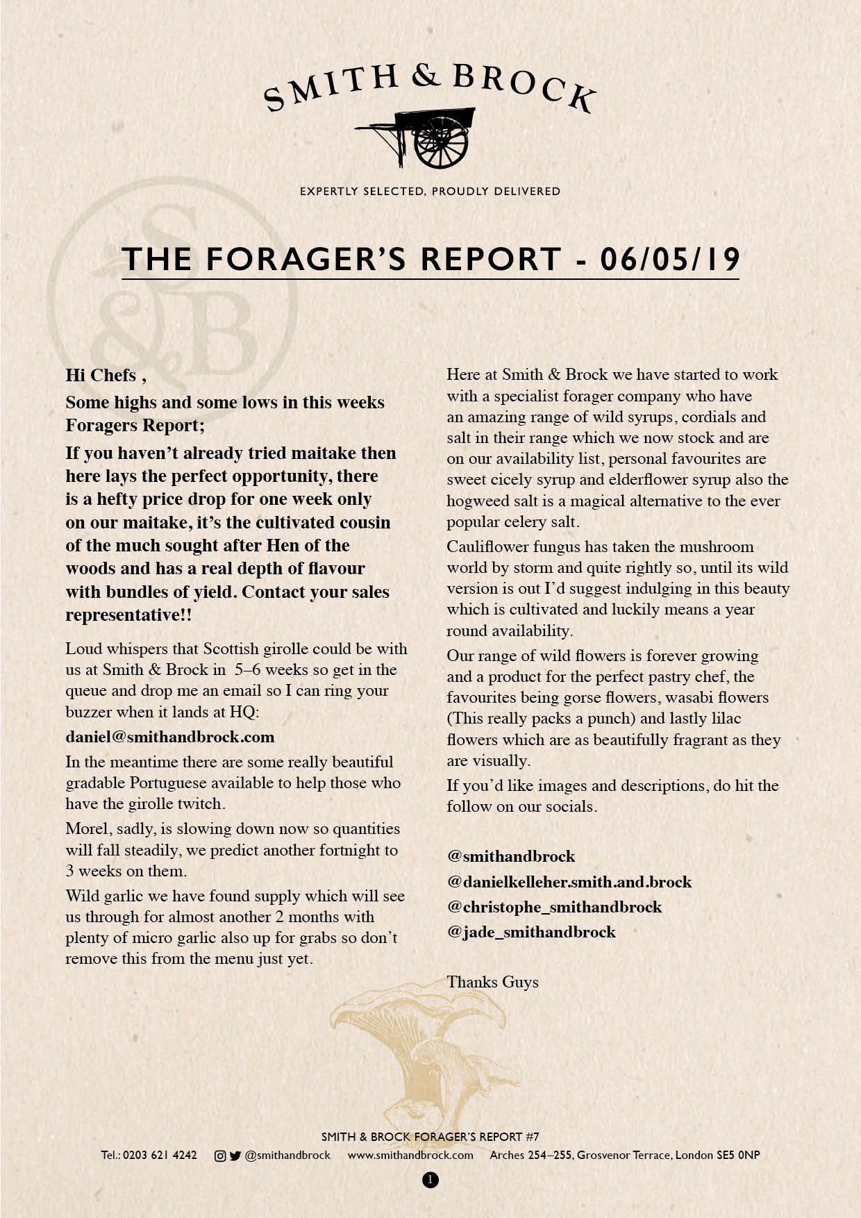 Smith&Brock Foraged Products Report 06 May 2019 7