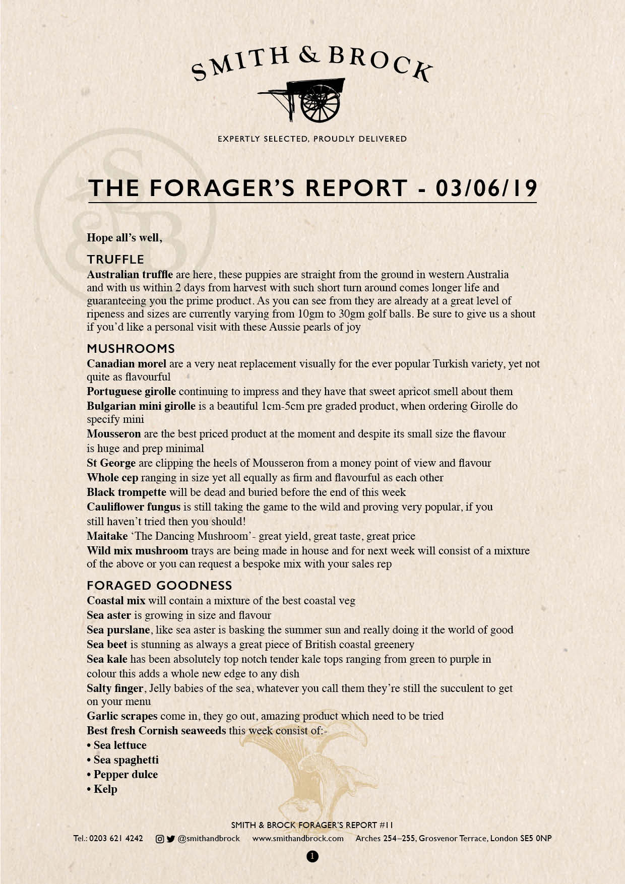 Smith&Brock Foraged Products Report 03 June 2019 11
