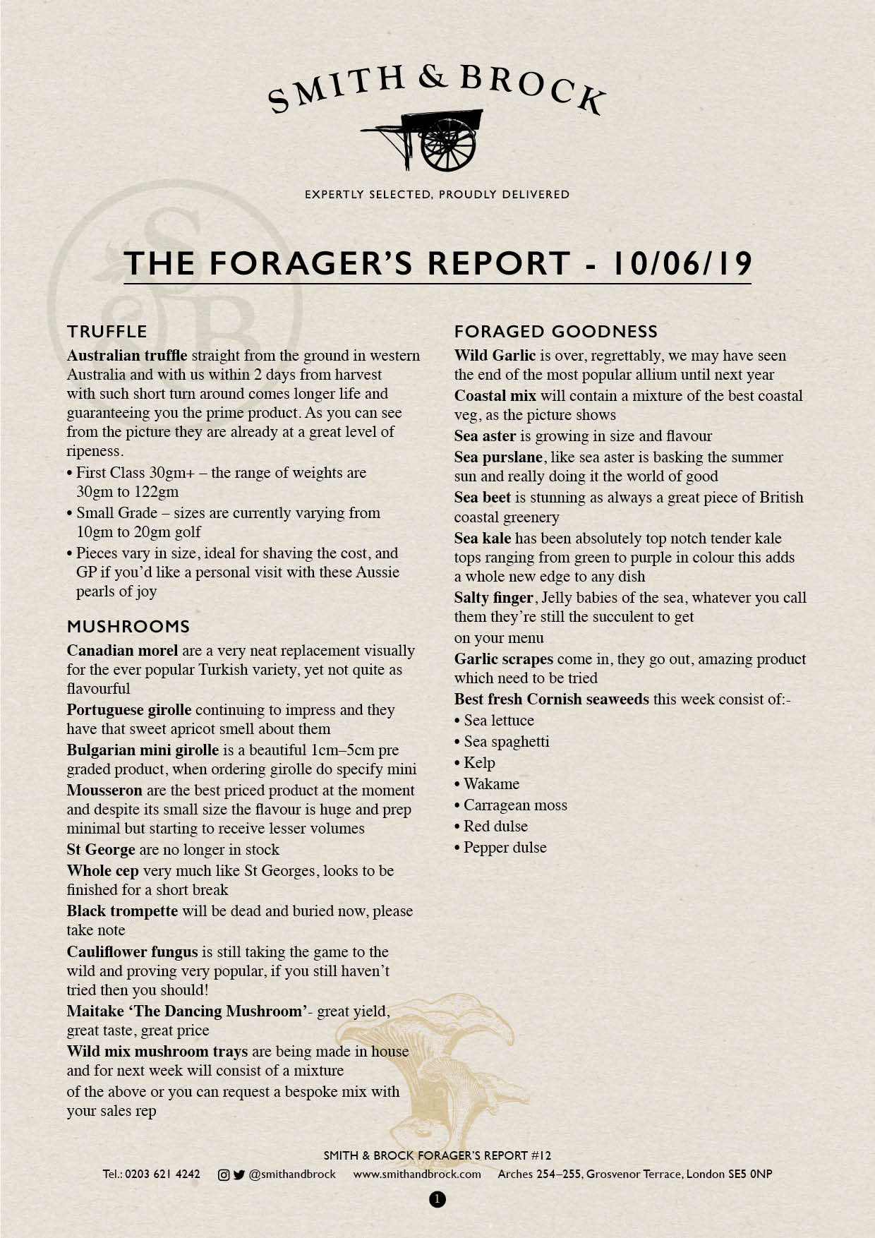Smith&Brock Foraged Products Report 10 June 2019 12