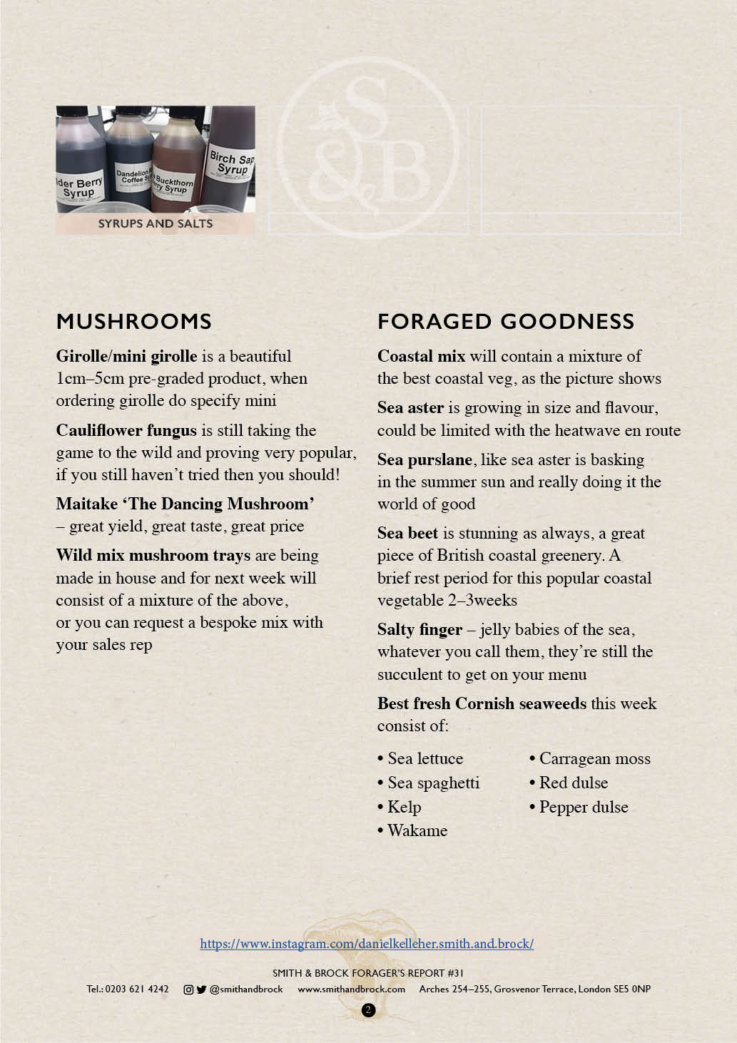 Smith&Brock Foraged Products Report 04 Nov 2019 312