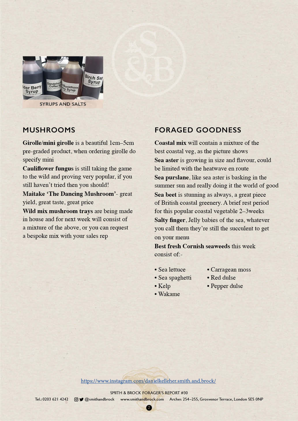 Smith&Brock Foraged Products Report 28 Oct 2019 302
